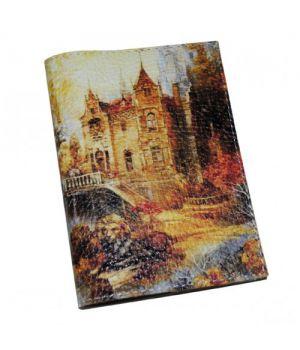 Шкіряна обкладинка для паспорта -Осінній замок-