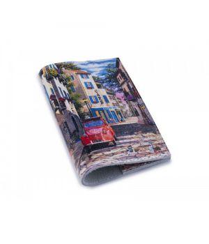 Шкіряна обкладинка для паспорта/закордонного паспорта -Авто в затишному дворику-