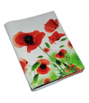 Шкіряна жіноча обкладинка з квітами -Маки-