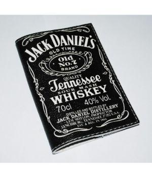 Шкіряна чоловіча обкладинка для паспорта -JackDanielsBlack-