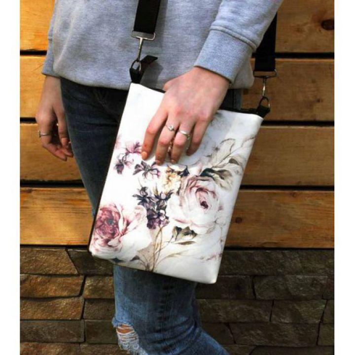 Молодежная кожаная женская сумка Винтажные цветы
