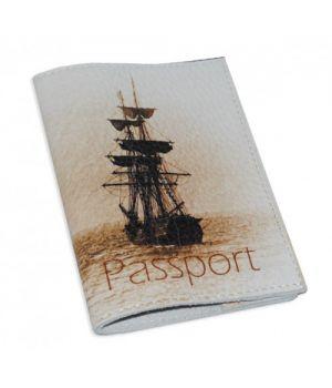 Шкіряна обкладинка для паспорта/закордонного паспорта -Кораблик-