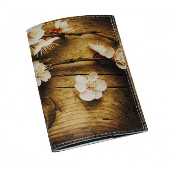 Кожаная женская обложка для паспорта -Сакура на дереве-