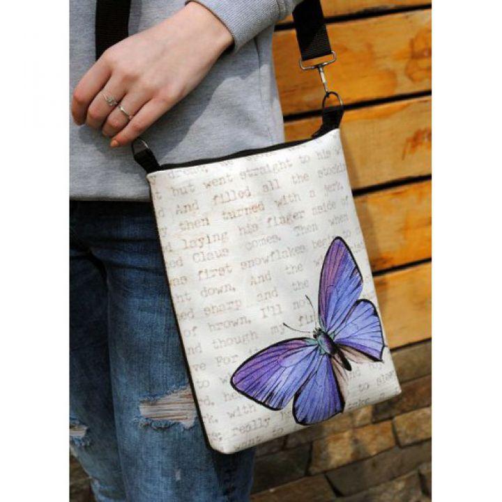 Женская кожаная сумка через плечо Винтажна бабочка