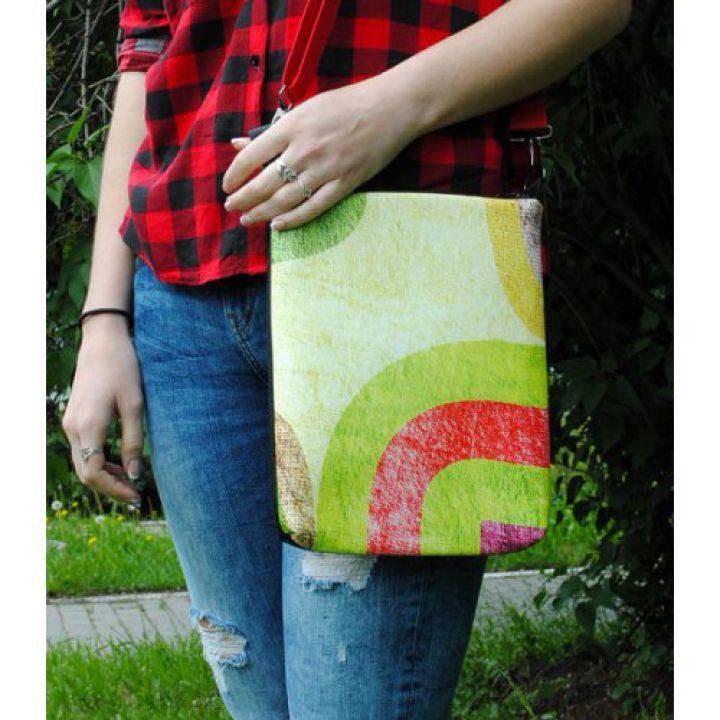 Женская кожаная сумка через плечо Позитив в зеленом