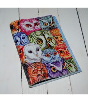 Шкіряна жіноча обкладинка для паспорта -Кольорові сови-