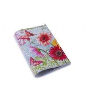 Кожаная женская обложка для паспорта -Герберы с бабочкой-