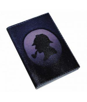 Шкіряна чоловіча обкладинка для паспорта -Силует Холмса-
