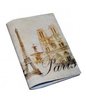 Шкіряна обкладинка на паспорт -Вінтажний Париж-