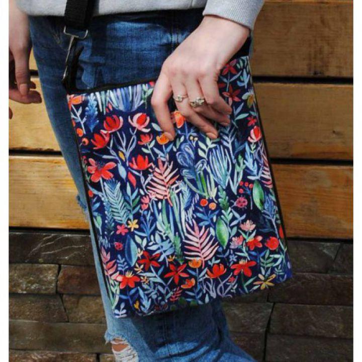 Модная женская сумка через плечо Цветы на синем фоне