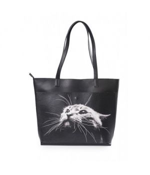 """Шкіряна жіноча сумка-шоппер """"Кіт"""""""