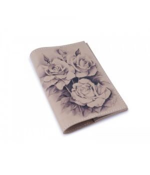 Шкіряна обкладинка для паспорта -Троянди графіка-