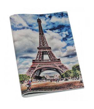 Шкіряна обкладинка на паспорт/закордонний паспорт -Ейфелева вежа-