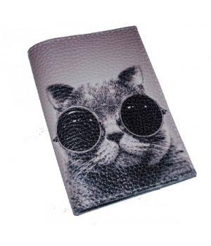 Шкіряна обкладинка для паспорта з котом -Крутий кіт-