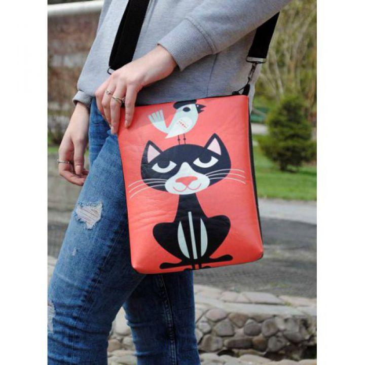 Кожаная женская сумка через плечо Кот с воробьем