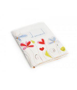 Обложка для биометрический паспорта -Цветы на белом фоне-
