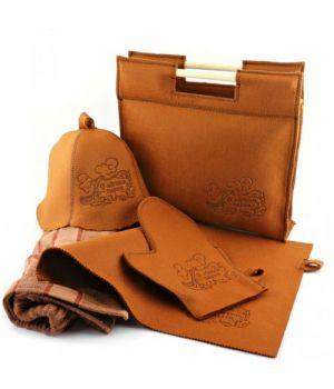 Подарунковий набір для лазні/бані 5в1 фетровий (коричневий)