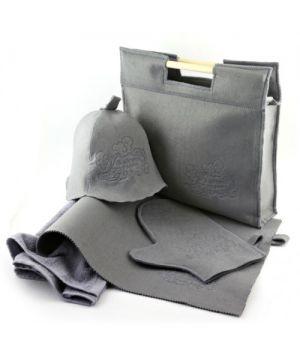 Подарунковий набір для лазні/бані 5в1 фетровий (сірий)