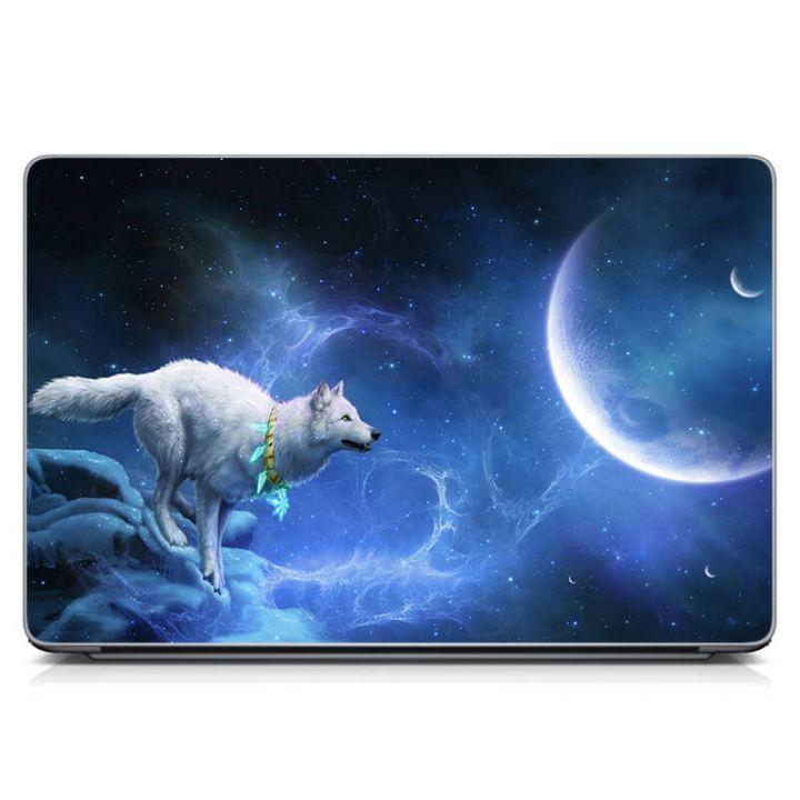 Наклейка на ноутбук Белый волк Матовая