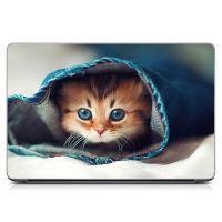 """Універсальна наклейка для ноутбука 15.6""""-13.3"""" Кошеня в укритті Матова 380х250 мм"""