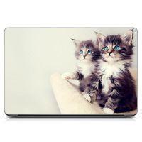 "Универсальная наклейка на ноутбук 15.6""-13.3"" Двое котят Матовая 380х250 мм"