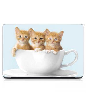 """Универсальная наклейка на ноутбук 15.6""""-13.3"""" Котята в чашке Матовая 380х250 мм"""