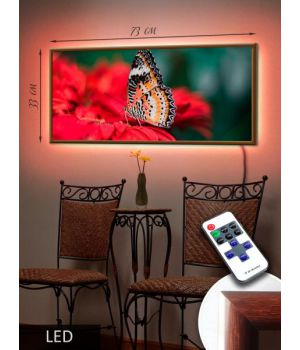LED Картина 73x33см Бабочка