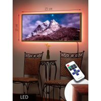 LED Картина 73x33см Гора и звезды