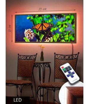 LED Картина 73x33см Бабочка на траве
