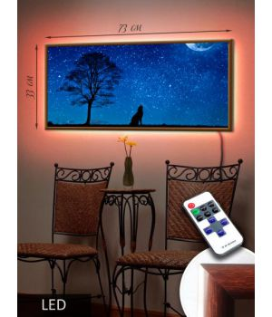 LED Картина 73x33см Волк под луной