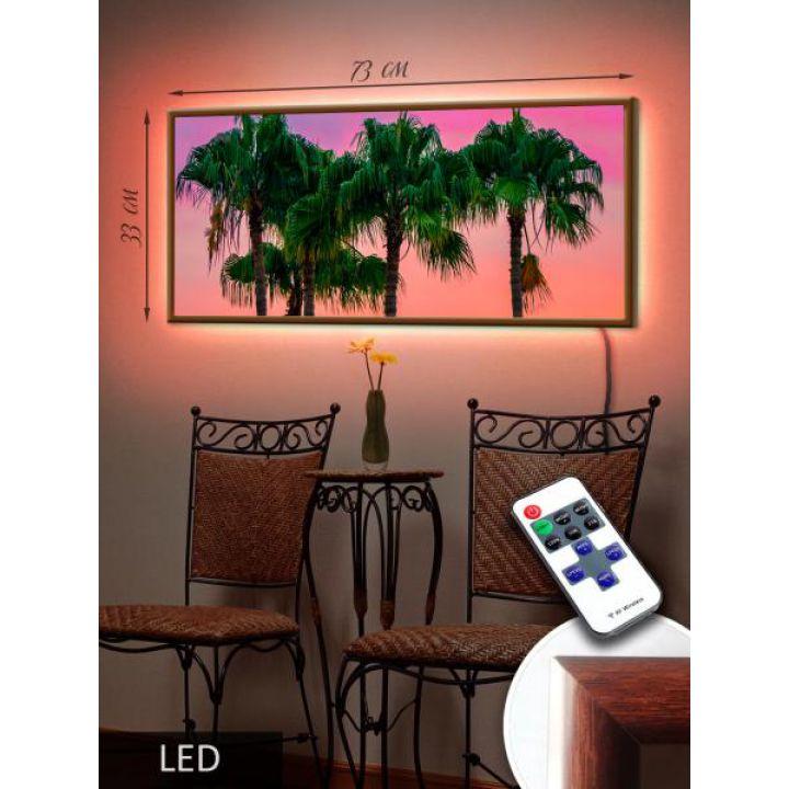 LED Картина 73x33см Закат на острове 1