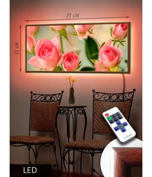 LED Картина 73х33см Червоні троянди