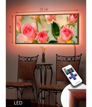 LED Картина 73x33см Алые розы