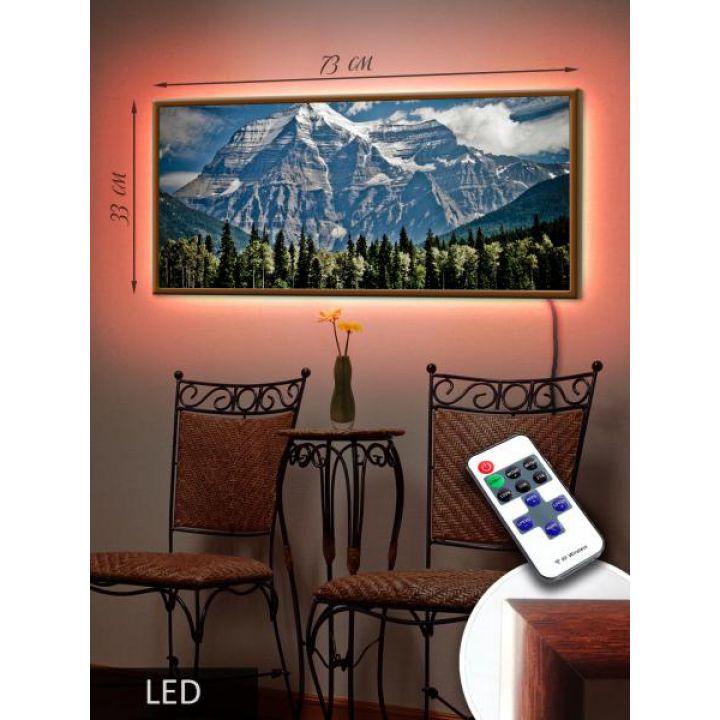 LED Картина 73x33см Горы
