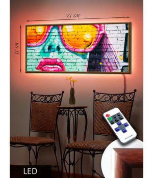LED Картина 73х33см Арт дівчина