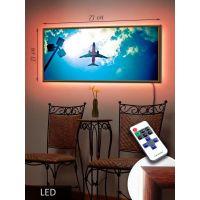 LED Картина 73x33см Полет самолета