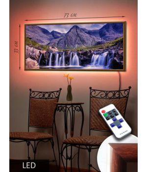 LED Картина 73x33см Водопад у скал