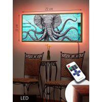 LED Картина 73x33см Слон Арт