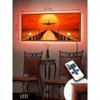 LED Картина 73x33см Самолет на фоне солнца