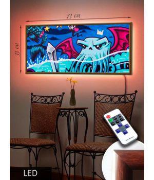 LED Картина 73x33см Арт осминог