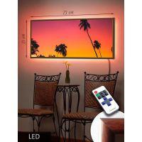 LED Картина 73x33см Закат на острове