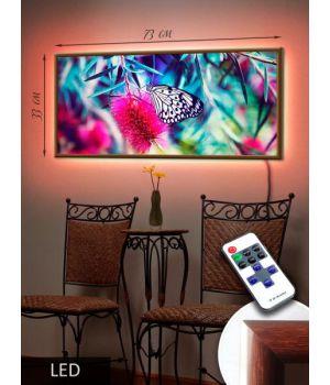 LED Картина 73x33см Бабочка на цветке
