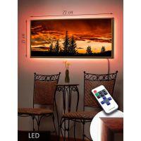 LED Картина 73х33см Захід сонця в лісі