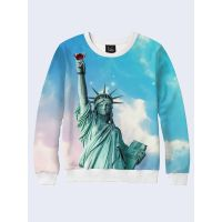 Чоловічий світшот Statue of Liberty and wineglass
