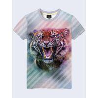 Мужская футболка Тигр и полосы