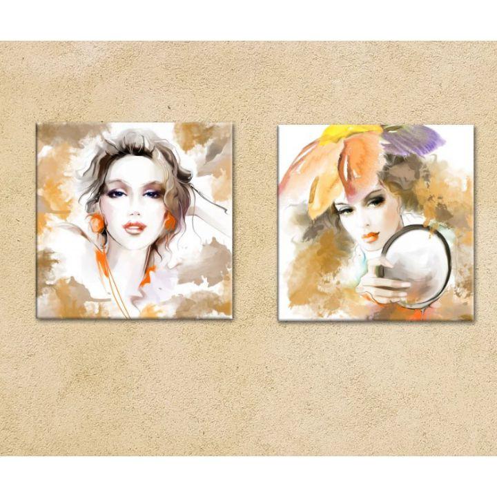 """Мультипанно """"Girls"""" картины на холсте для салона красоты, парикмахерской 30х30 см"""