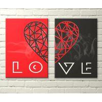 """Постер на полотні """"Диптих. LOVE"""" 30x40 cm"""
