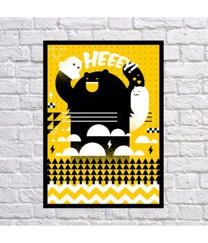 Прикольний інтер'єрний постер Heeey, 42х59 см