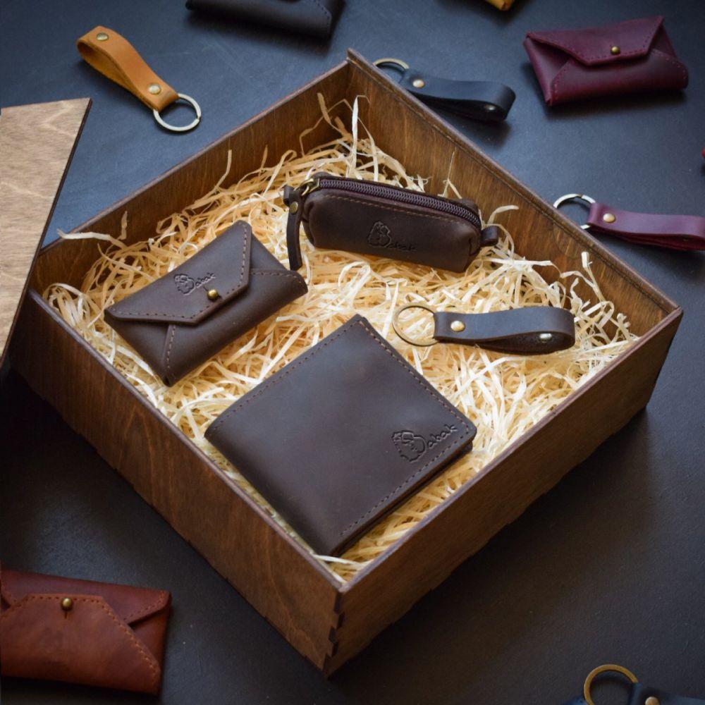 842cdacce178 Набор кожаных аксессуаров Medina Brown - Купить мужской подарочный ...