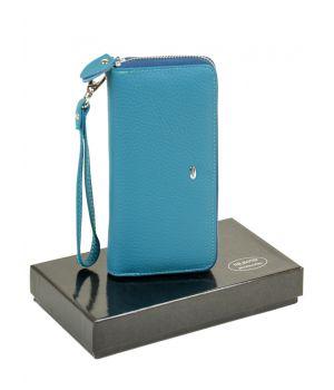 Женский кожаный кошелек-сумочка W38 l-blue, 76443